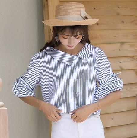 EASON SHOP(GU5241)設計感斜邊領不規則V領五分袖襯衫女春夏韓版條紋顯瘦喇叭袖短袖上衣綁帶蝴蝶結