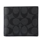 COACH經典LOGO PVC皮革多卡短夾(附可拆式證件夾)(黑色)196152
