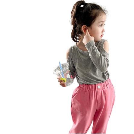 露肩款圓領柔棉長袖上衣 (小孩賣場) 親子裝 母女裝 露肩 長袖上衣 女童 橘魔法 現貨 童裝