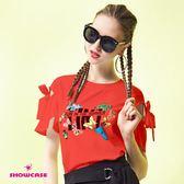 【SHOWCASE】率性蝶舞印花蝴蝶結造型袖T恤(紅)