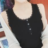 女生背心 韓版百搭素色圓領蕾絲邊背心女莫代爾螺紋棉寬肩吊帶打底衫上衣夏 新品
