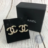 BRAND楓月 CHANEL 香奈兒 雙C LOGO 珍珠 寶石 綠色寶石 鑲嵌 耳環