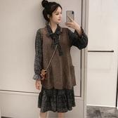 初心 兩件式 洋裝【DS8832】韓系 格紋 超質感 背心 口袋 馬甲 毛衣 長袖 魚尾裙