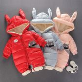 嬰兒連體衣服新生兒女秋冬裝棉衣外出服加厚加絨夾棉男寶寶爬爬服