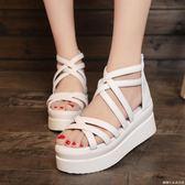 波西米亞夏季新款魚嘴涼鞋坡跟女鞋子韓版厚底鞋鬆糕鞋高跟鞋     糖糖日系森女屋