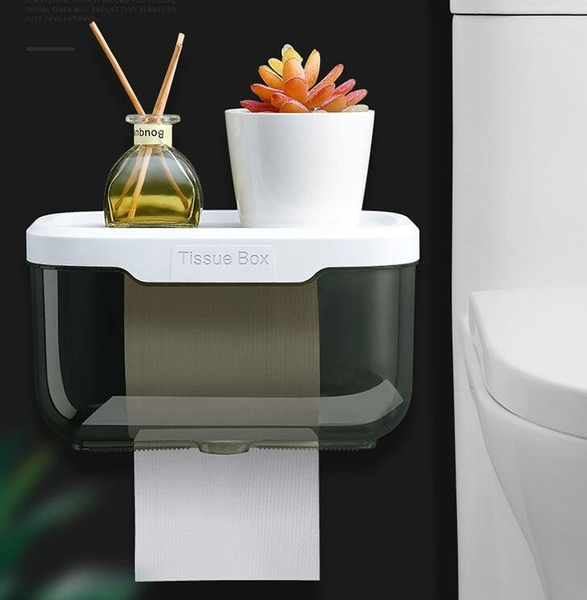 紙巾架 免打孔衛生間紙巾盒塑料衛浴廁所盒防水手紙盒卷紙盒置物抽紙巾架