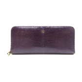 LOEWE 羅威 紫色蜥蜴皮ㄇ字型拉鍊長夾Zippe Arround Wallet 【二手名牌BRAND OFF】
