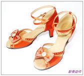 節奏皮件~國標舞鞋拉丁鞋款舞鞋編號A11925 紅膚緞