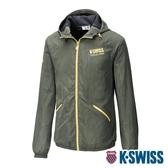 K-SWISS Solid Fleece Jacket刷毛防風外套-男-軍綠