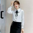 VK精品服飾 韓國風氣質翻領雪紡衫蝴蝶結單排扣長袖上衣