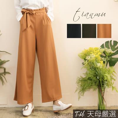 【天母嚴選】 花苞壓摺附綁帶鬆緊腰寬褲(共三色)
