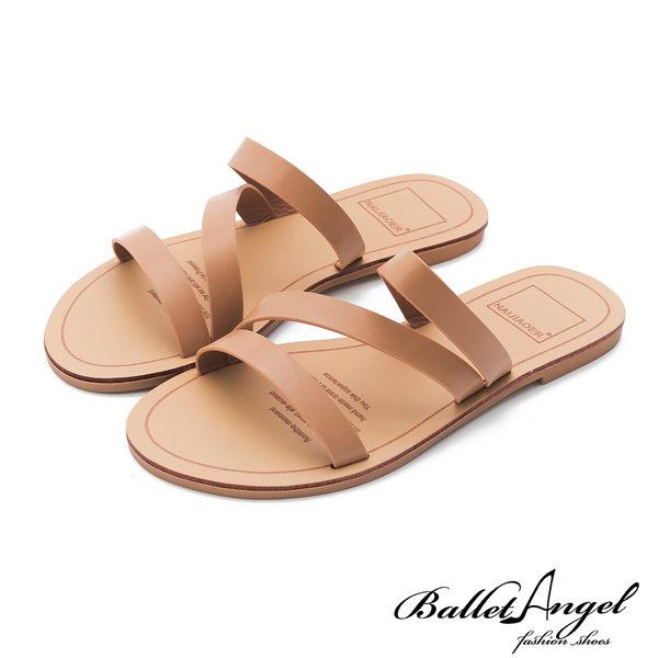 涼拖鞋 簡約隨興素面平底涼拖鞋(粉)*BalletAngel【18-2019-41pk】【現貨】