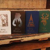 【BlueCat】聖誕節北極熊麋鹿燙金卡片信封