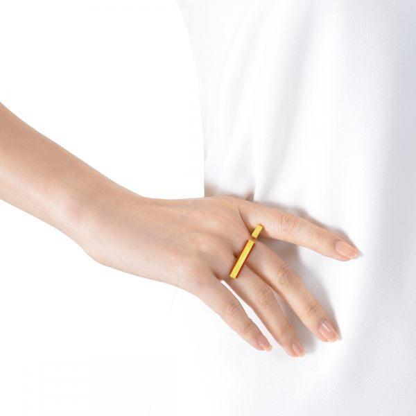 點睛品 g*collection系列 矩形紅瑪瑙 黃金戒指