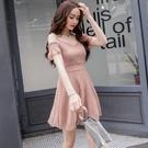 一字領洋裝 雪紡連衣裙2020新款韓版一字肩露肩仙女吊帶裙