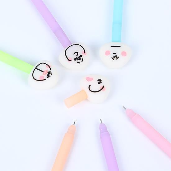 ✭慢思行✭【P111】卡通飯糰表情0.5中性筆 學生 設計 辦公用品 多色 創意 文具 可愛 黑色
