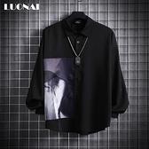 短袖襯衫韓版潮流長袖黑色上衣夏季休閒寬鬆百搭男士襯衣外套 陽光好物