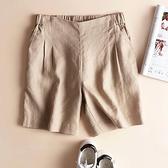 棉麻短褲 女士亞麻五分沙灘熱褲2020夏季新款文藝寬鬆顯瘦棉麻休閒闊腿短褲 快速出貨