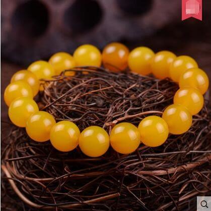天然民族風黃玉髓 女單圈手鍊水晶飾品手串男女禮物