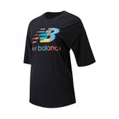 New Balance藝術家聯名LOGO女款黑色五分袖上衣-NO.AWT01545BK