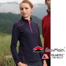 【EasyMain 衣力美 女款 高效能輕暖休閒衫《深藍》】SE16068/超細纖維/快乾透氣/不易起球