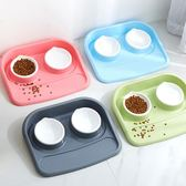 貓碗狗碗貓咪狗狗吃飯喝水兩用寵物防濺防撒固定食盆塑料雙碗泰迪