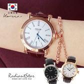 [鋼製]正韓JULIUS日青方好羅馬字日期顯示精品級真皮手錶對錶單支【WJAL0358】璀璨之星☆