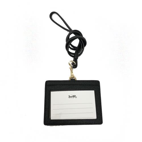 【COACH】經典燙印LOGO 防刮皮革橫式證件識別證保護套(黑)