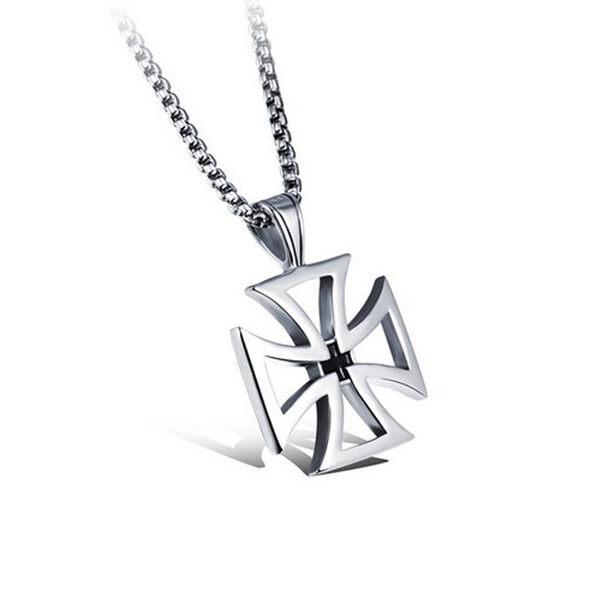 【5折超值價】  316L西德鈦鋼情人禮物最新熱銷款歐美風格十字架縷空造型男款鈦鋼項鍊