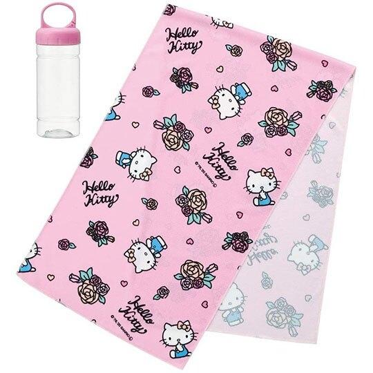 小禮堂 Hello Kitty 涼感長毛巾 附毛巾罐 冰巾 運動毛巾 涼感巾 30x100cm (粉 玫瑰) 4973307-50312