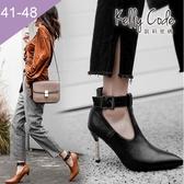 大尺碼女鞋-凱莉密碼-潮流時尚款皮帶扣瑪莉珍尖頭高跟鞋9cm(41-48)【GR98-57】黑色