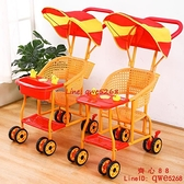 嬰兒仿藤手推車藤椅寶寶輕便推車夏季八輪兒童車新款通風易洗推車【齊心88】