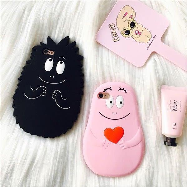 泡泡先生 手機殼 iPhone 6 7 plus 保護套 矽膠 軟殼 情侶 情人節禮物 粉黑 韓國 眼睛笑臉 范冰冰 NXS
