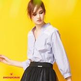 【SHOWCASE】氣質蕾絲微透小V領直條紋長版襯衫(藍)