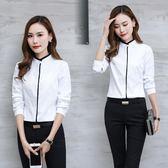 白襯衫女長袖正韓立領職業裝工作服襯衣打底工裝上衣 巴黎时尚生活