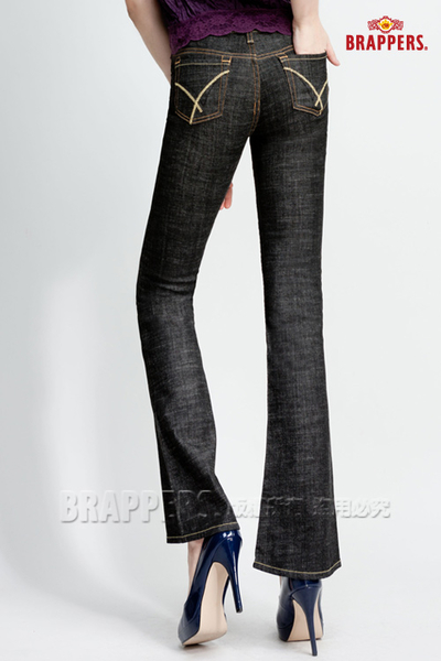 BRAPPERS 女款 彈性小喇叭褲-黑