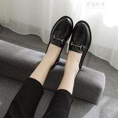 韓版百搭女鞋中跟小皮鞋英倫休閒一腳蹬單鞋 伊莎公主