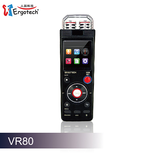Ergotech 人因科技 秘錄王 VR80 CK VR80CK 8G 多功能學習數位錄音筆 黑色