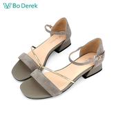 Bo Derek 一字斜帶繫踝低跟涼鞋-灰色