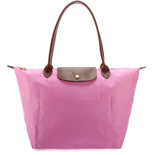 LONGCHAMP 經典長提把中型尼龍摺疊水餃包(粉紅色)480132-058
