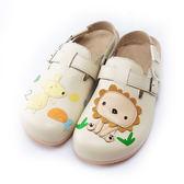 【Jingle】森林童趣前包後空軟木休閒鞋(百搭米大人款)