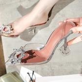 涼鞋女新款透明玻璃膠細跟高跟鞋女鞋