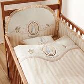 【奇哥】比得兔嬰兒大床+優雅比得兔六件寢具組