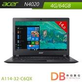 acer A114-32-C6QX 14吋 N4020 HD Win 10 S 黑色筆電(6期0利率)-ACER無線滑鼠