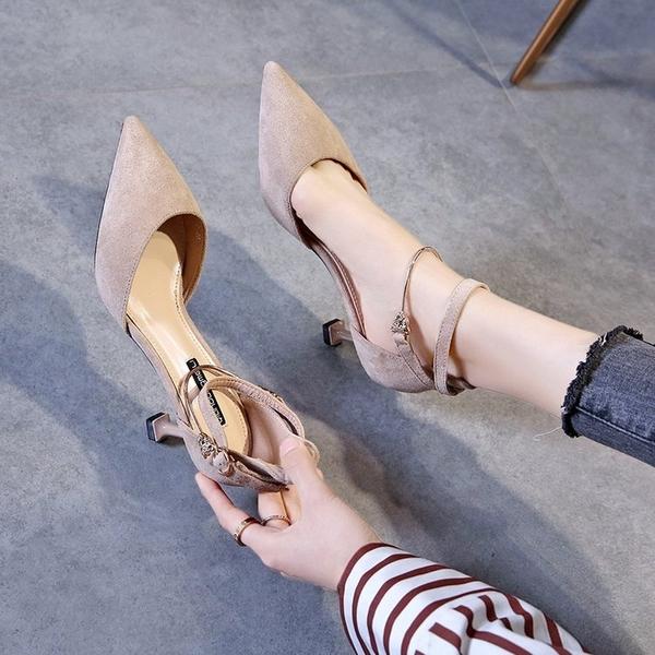 高跟鞋 春一字扣帶包頭涼鞋女法式少女尖頭仙女風細跟性感高跟鞋-Ballet朵朵