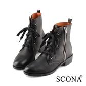 SCONA 蘇格南 全真皮 率性拉鍊綁帶短靴 黑色 8785-1