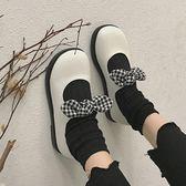 平底軟妹小皮鞋女 學院風大頭娃娃鞋韓版女單鞋蝴蝶 降價兩天