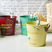 日系復古可愛兔子鐵皮 筆筒餐具收納桶可做花器 桌面收納【新年交換禮物降價】