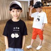 2019新款夏裝男童短袖t恤兒童純棉體恤 夏季韓版潮大童童裝 js26093【黑色妹妹】