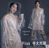 時尚透明雨衣長款全身外套女演唱會成人徒步漂流男 JY7747【Pink中大尺碼】